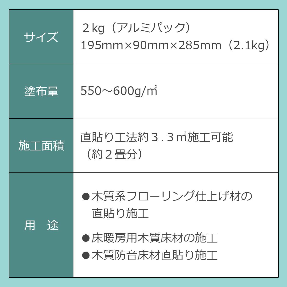 サイズ:2kg(アルミパック)195ミリ×90ミリ×285ミリ(2.1kg) 塗布量:550~600g/平方メートル 施工面積:直貼り工法約3.3平方メートル施工可能(約2畳分) 用途:木質系フローリング仕上げ材の直貼り施工・床暖房用木質床材の施工・木質防音床材直貼り施工