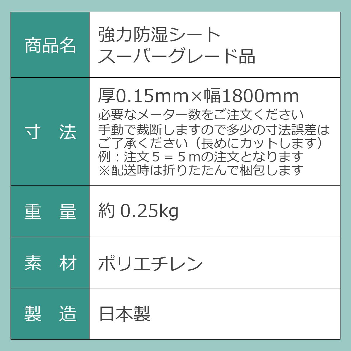 商品名:強力防湿シート スーパーグレード品 寸法:厚0.15ミリ×幅1800ミリ 必要なメーター数をご注文ください。手動で裁断しますので多少の寸法誤差はご了承ください(長めにカットします)例:注文5=5メートルの注文となります。※配送時は折りたたんで梱包します 重量:約0.25kg 素材:ポリエチレン 製造:日本製