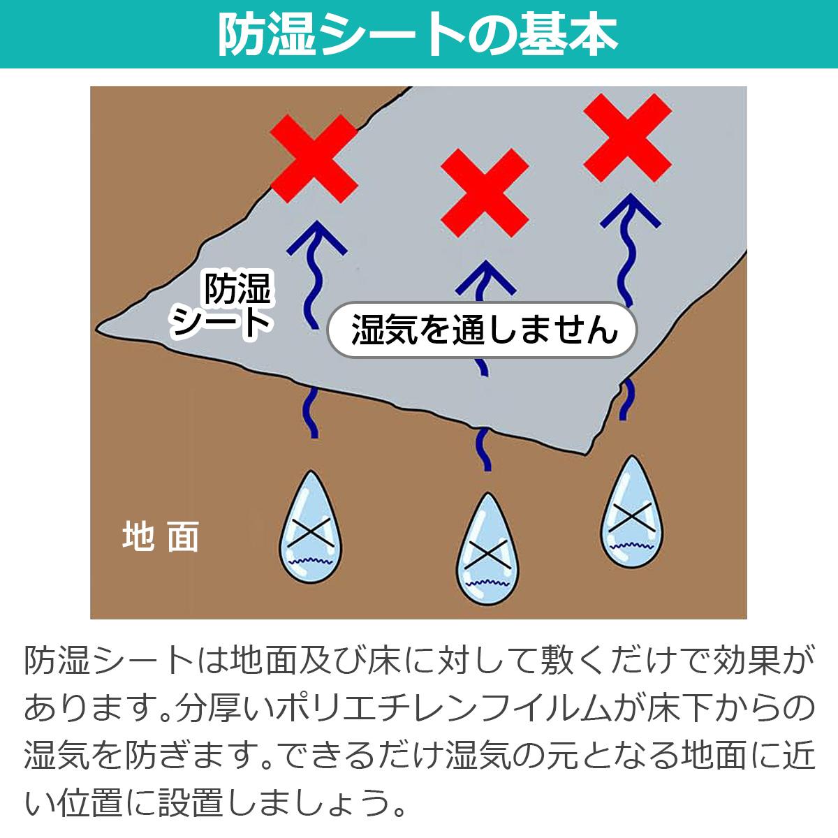 防湿シートの基本 防湿シートは地面及び床に対して敷くだけで効果があります。分厚いポリエチレンフイルムが床下からの湿気を防ぎます。できるだけ湿気の元となる地面に近い位置に設置しましょう。