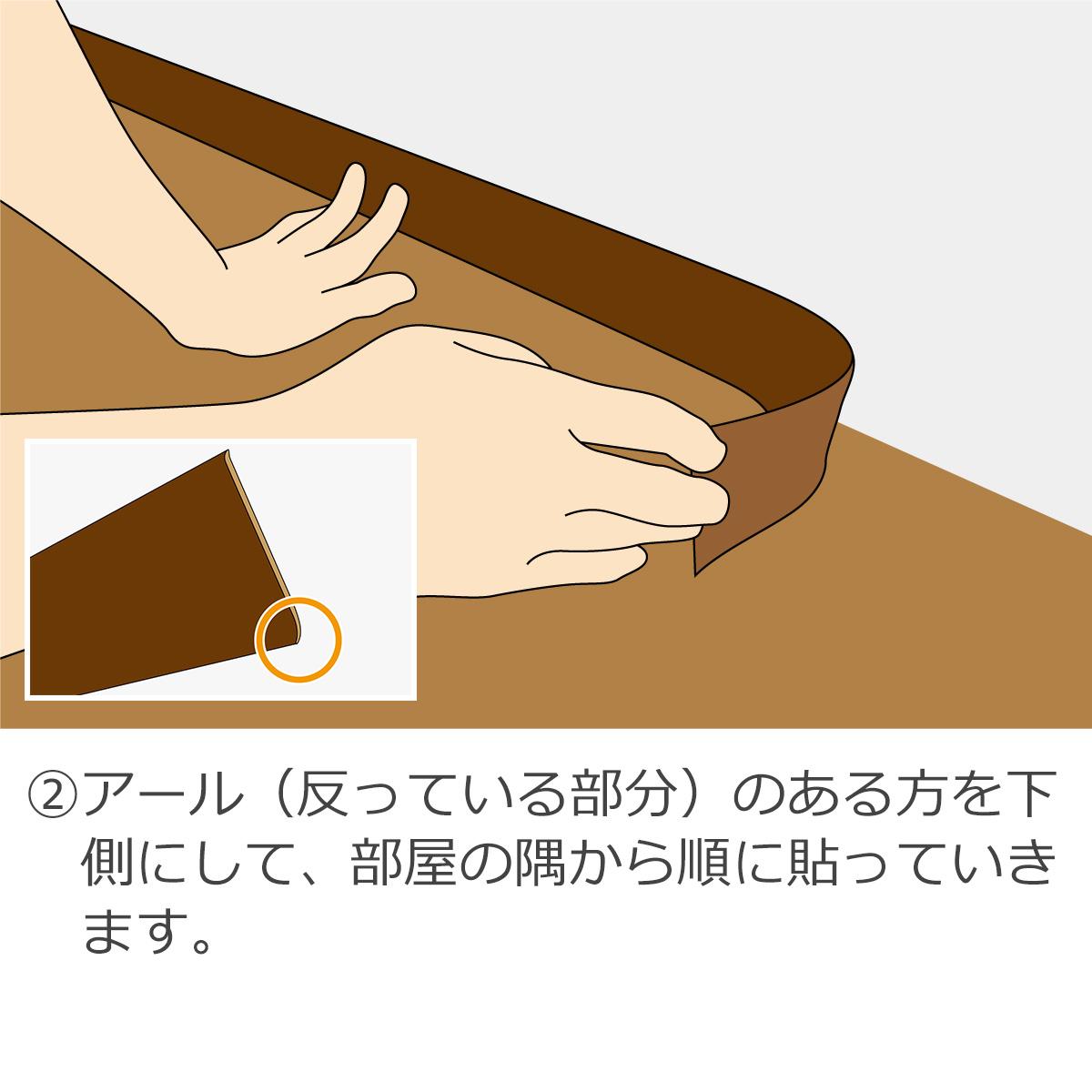 2・アール(反っている部分)のある方を下側にして、部屋の隅から順に貼っていきます。