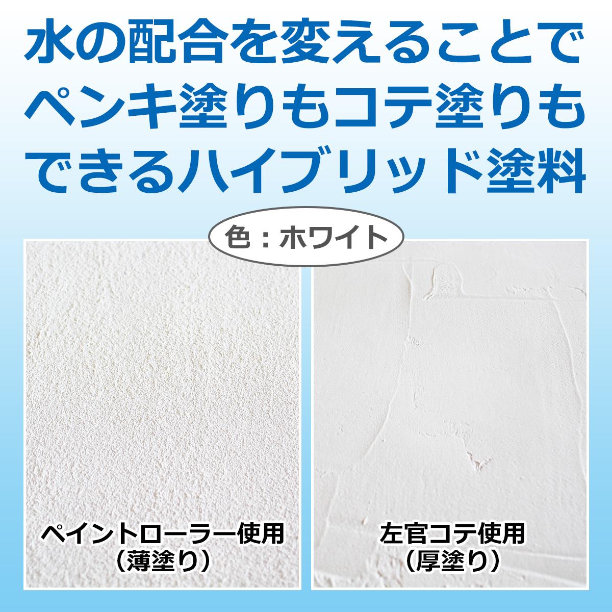 水の配合を変えることでペンキ塗りもコテ塗りもできるハイブリッド塗料 色:ホワイト ペイントローラー使用(薄塗り) 左官コテ使用(厚塗り)