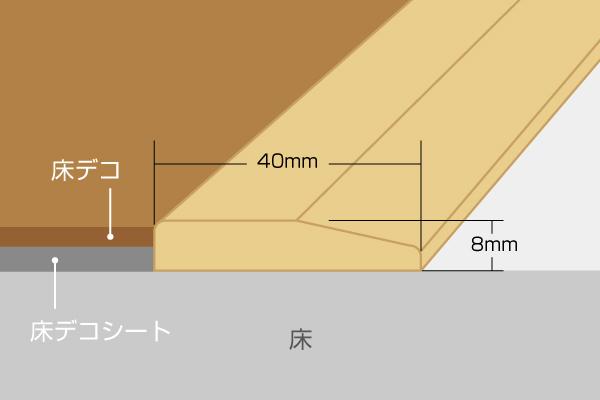 段差見切りのオールドカントリー(厚8mm×巾40mm×長さ900mm)図面