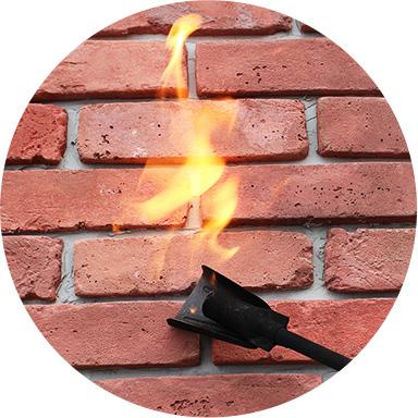 壁面に貼ったQBBの燃焼実験